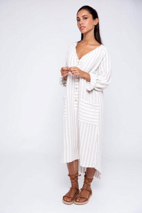 BEGE STRIPES ANDREIA SHIRT DRESS