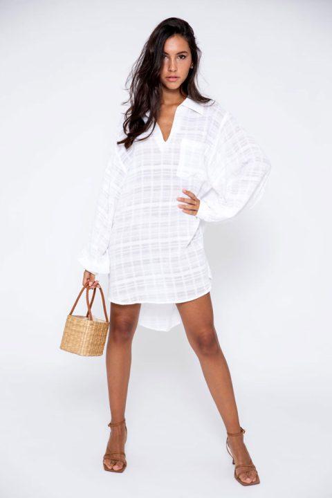 WHITE JOAN SHIRT DRESS