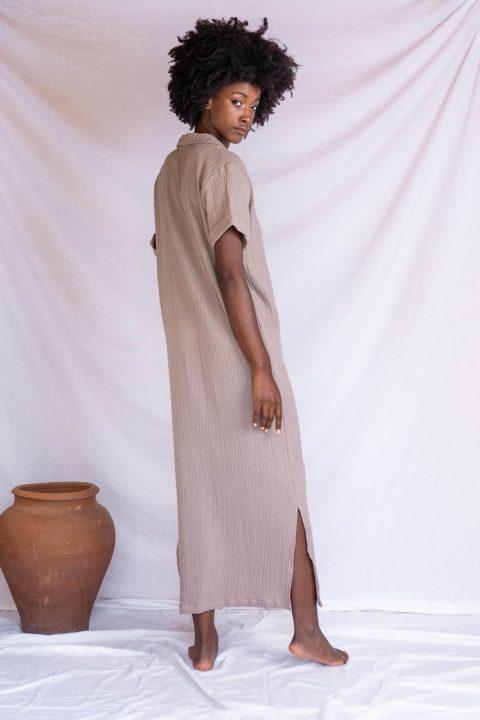 DIANA SHIRT DRESS TAUPE