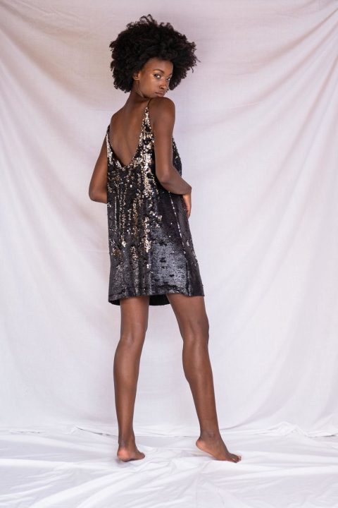 CATHERINE MINI DRESS BLACK GOLD